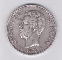 5 песет 1871 года Амадео I