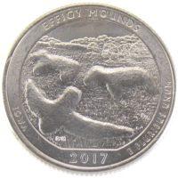 25 центов США 2017 г. «Национальный памятник Эффиджи-Маундз»