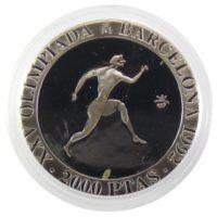 2000 песет 1990 г. «XXV Летние Олимпийские игры, Барселона 1992 — Бег»