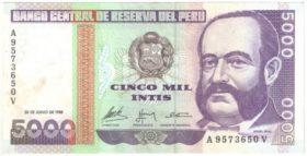 Перу. 5000 инти 1988 г.