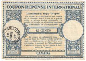 Канада. Международный ответный купон 12 центов