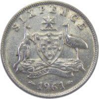 Австралия. 6 пенсов 1961 г.