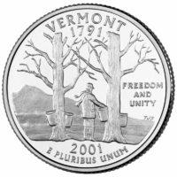 25 центов США Штат Вермонт