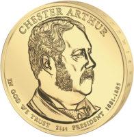 1 доллар 2012 США  Chester Arthur 21й президент