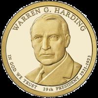 1 дoллaр 2014 США  Warren G Harding 29й прeзидeнт