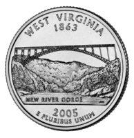25 центов США Штат Западная Вирджиния