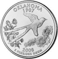 25 центов США Штат Оклахома