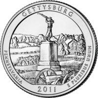 25 центов США Национальный парк Геттисберг Пенсильвания