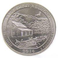 """25 центов США 2014 г. """"Национальный парк Грейт-Смоки-Маунтинс"""""""
