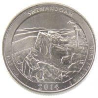 """25 центов США 2014 г. """"Национальный парк Шенандоа"""""""