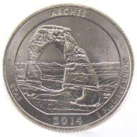"""25 центов США 2014 г. """"Национальный парк Арчес"""""""