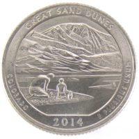 """25 центов США 2014 г. """"Национальный парк Грейт-Санд-Дьюнс"""""""