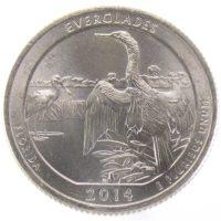 """25 центов США 2014 г. """"Национальный парк Эверглейдс"""""""