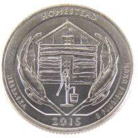 """25 центов США 2015 г. """"Национальный монумент Гомстед"""""""