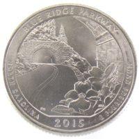"""25 центов США 2015 г. """"Автомагистраль Блу-Ридж"""""""