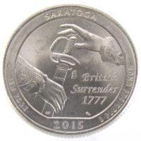 """25 центов США 2015 г. """"Национальный исторический парк Саратога"""""""