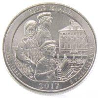 """25 центов США 2017 г. """"Национальный монумент острова Эллис"""""""