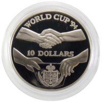 """Острова Ниуэ. 10 долларов 1991 г. """"Чемпионат по футболу 1994"""""""