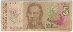 Аргентина. 5 аустралей 1985 г.