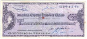 США. Дорожный чек 20 долларов