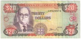 Ямайка. 20 долларов 1996 г.