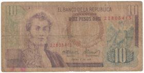 Колумбия. 10 песо 1975 г.