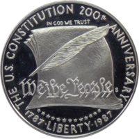 """США. 1 доллар 1987 г. """"200 лет Конституции США"""" BU"""