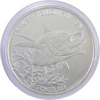 """Токелау. 5 долларов 2014 г. """"Желтопёрый тунец"""""""