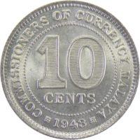 Британская Малайя. 10 центов 1943 г.