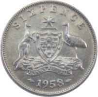 Австралия. 6 пенсов 1958 г.