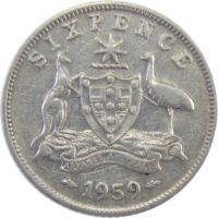 Австралия. 6 пенсов 1959 г.