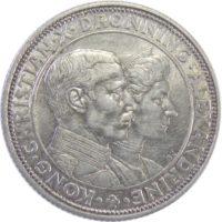 """Дания. 2 кроны 1923 г. """"Серебряная годовщина свадьбы"""""""